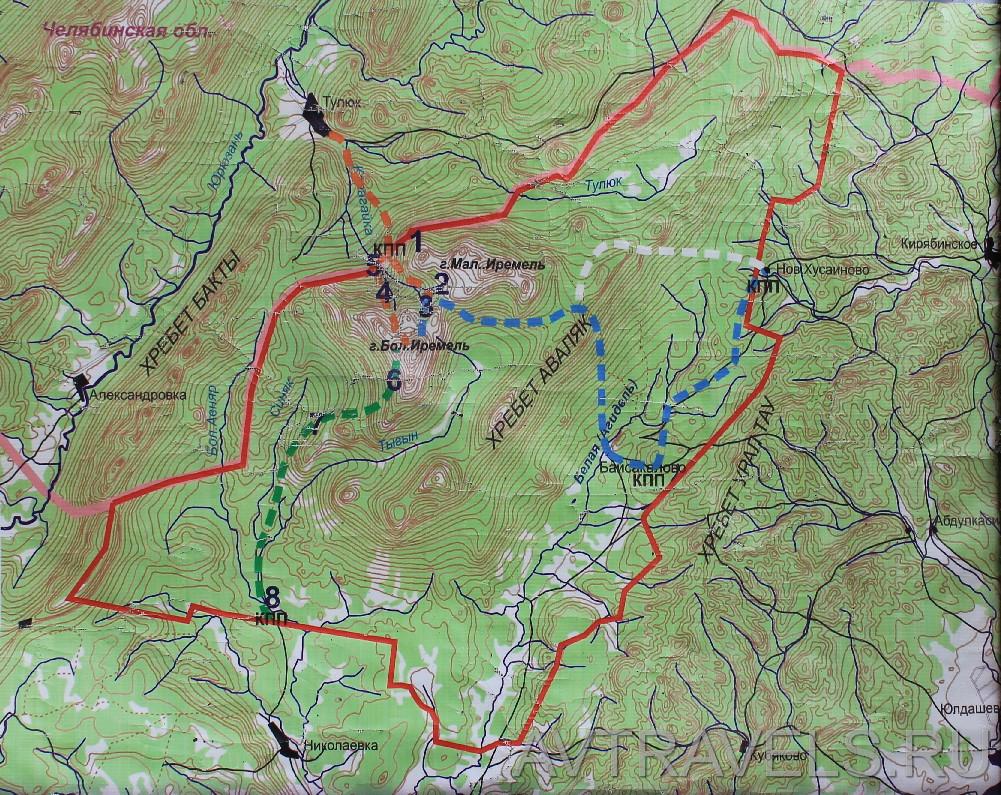 Иремель карта природного парка